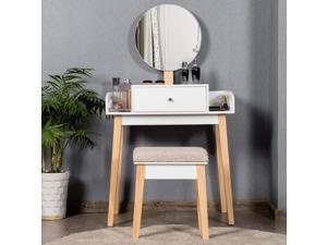Wooden Vanity Makeup Dressing Table Stool Round 1 Drawer