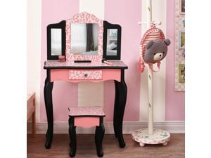 Kids' Wooden Vanity Table and Stool Set with 3 Mirrors, Princess Makeup Dressing Table,Children's Furniture
