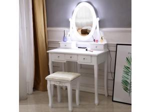 Vanity Table 10 LED Lights, 5 Drawers Makeup Dressing Desk with Cushioned Stool Set,Bedroom Vanities Set White