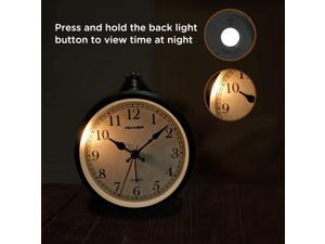 """4"""" Battery Operated Antique Retro Analog Alarm Clock, Small Silent Bedside Desk Gift Clock"""
