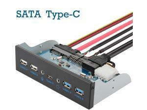 USB3.0 Front Panel hub, Optical Drive 5.25'' Panel Computer Expansion Board, 7 Ports Support Type-C, USB 3.0, USB 2.0, Microphone Input and Audio Output Ports Support SATA Hard Drive Chassis DIY