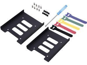 """2.5 to 3.5 Adapter -SSD Mounting Bracket Kit 2.5"""" to 3.5"""" Drive Bay Metal Adapter Mounting Bracket Hard Drive Holder with 5pcs Reusable Cord Organizer"""