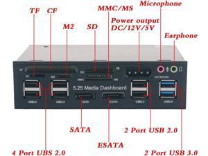 5.25 inch Multi-Function USB 3.0 Hub CF TF M2 SD MS Card Reader CD-ROM Front Panel Media Dashboard SATA eSATA Audio Headphone Mic