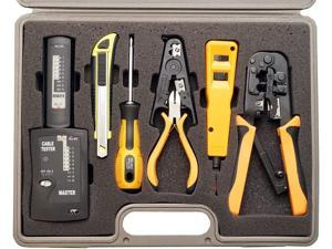 10 Piece Network Installation Tool Kit - Includes LAN Data Tester, RJ45 RJ11 Crimper, 66 110 Punch Down, Stripper, Utility Knife, 2 in 1 Screwdriver, and Hard Case