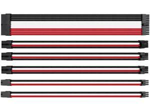 upHere Sleeved Cable - Cable Extension for Power Supply with Extra-Sleeved 24-PIN 8-PIN 6-PIN 4+4 PIN-Black White Red with Cable Combs(11.8 inch/30CM)(SC305)