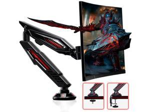 Gaming Monitor Desk Mount - Adjustable Single Monitor Arm Desk Stand Fits for Computer Screen 17 to 32 inches, Hold up to 17.6 lbs