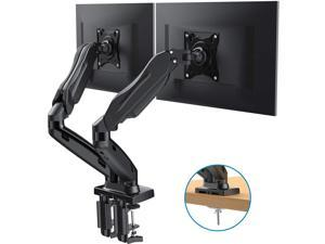 Dual Monitor Stand - Adjustable Gas Spring Monitor Desk Mount Swivel VESA Bracket with C Clamp, Grommet Mounting Base for 17 to 27 Inch Computer Screens - Each Arm Holds 4.4 to 14.3lbs