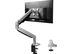 Single Arm Monitor Stand - Premium Aluminum Gas Spring Monitor Desk Mount, Adjustable Computer Riser with Clamp, Grommet Mounting Base for 13 to 32 Inch Screens VESA 75X75 100X100
