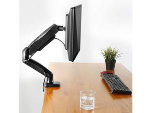 Single Monitor Desk Mount - Articulating Gas Spring Monitor Arm, Removable VESA Mount Desk Stand with Clamp and Grommet Base - Fits 13 to 27 Inch LCD Computer Monitors, VESA 75x75, 100x100