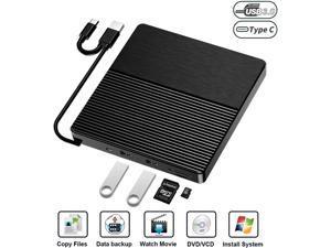 External CD DVD Drive, Type-C/USB 3.0 Slim Portable CD/DVD-RW Burner with SD/TF Card Reader Socket Drive for Laptop, Desktop, Mac, iOS, Windows 10/8/7 / XP/Linux