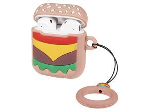 Case For Apple AirPods 2, AirPods 1 [3D Cartoon] Drop Protection [Keychain] Accessory Cover [Burger]