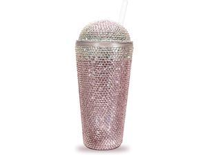 Bling Cup | 22oz Double Wall Tumbler | Pink and Silver Rhinestones Cup for women's
