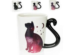Color Changing Cat Mug - 3D Ceramic Black Cat Coffee Mugs. Novelty Space Moon Mugs gifts. Holiday or Birthday Present for Kitten lovers. Great Kitchen, Office or Bedroom Decor. A Great Cup of Tea
