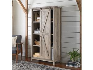 "66"" Modern Farmhouse Bookcase Storage Cabinet"