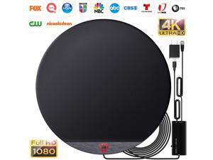 Amplified HD Digital Round TV Antenna Long 200+ Miles Range - Support 4K 1080p Fire tv Stick and All Older TV's - Indoor Smart Switch Amplifier Signal Booster - 18ft HDTV Cable/AC Adapter