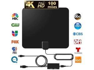 TV Antenna Indoor HDTV Digital Antenna 60-120 Miles Range Amplified Antenna with 2020 Newest Amplifier Signal Booster Support 4K 1080p Freeview for Life Local Channels