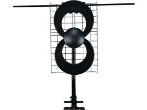 ClearStream 2V TV Antenna, 60+ Mile Range, UHF/VHF, Multi-directional, Indoor, Attic, Outdoor, Mast w/Pivoting Base/Hardware/ Adjustable Clamp, Sealing Pads, 4K Ready, Black – C2-V-CJM