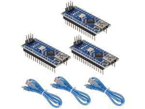 Mini Nano V3.0 Module ATmega328P 5V 16MHz CH340G Chip Microcontroller Development Board USB Cable for Arduino (Pre-soldered Nano 3pcs)