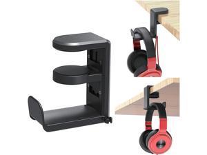 PC Gaming Headset Headphone Hook Holder Hanger Mount, Headphones Stand with Adjustable & Rotating Arm Clamp , Under Desk Design , Universal Fit