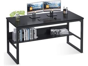 """Computer Desk with Bookshelf, 47"""" Office Desk with Storage, Super Sturdy Writing Desk for Home Office, Black"""