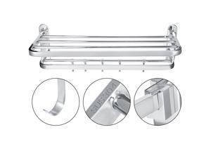 Bathroom Stainless Steel Folding Storage Shelf Towel Rack Hanger Bar Home Use