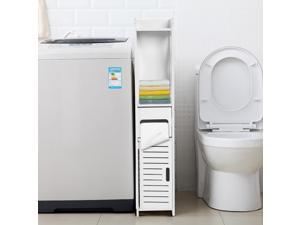 Bathroom Floor Cabinet Freestanding Single Door 3-Tier Storage Organizer White