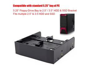 """2.5"""" 3.5"""" HDD SSD Tray to 5.25""""Floppy Drive Bay PC Case Adapter Mounting Bracket"""
