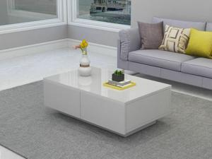 Coffee Table High Gloss Accent Tea End Table Living Room W/ 4 Storage Drawer NEW