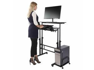 Adjustable Height Multi-function Computer Stand Up Desk Rolling Cart Home Office Mobile Rolling Computer Desk Adjust Laptop Printer Table Home Office Furnitures