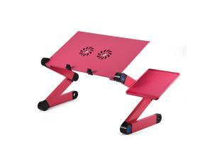 360°Adjustable Foldable Laptop Notebook Desk Table Stand Bed Tray Cooling Fans Rose Red