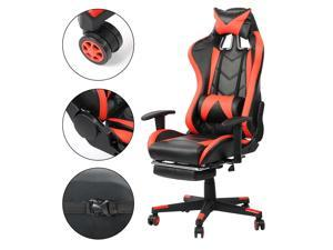 Gaming Chair with Footrest High-Back PU Leather Office Chair with Headrest maximum load 200KG / 440.9lb