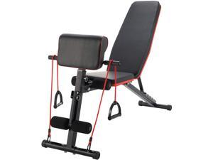 ZELUS Adjustable Weight Bench w Roman Chair Preacher Curl | Home Gym Strength Training Equipment for Dumbbells Bench Press More | Fitness Bench & Workout Bench for Home w Resistance Bands Set, Black