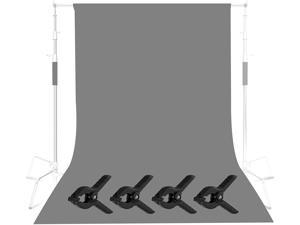 Selens Grey Backdrop Muslin 6x9ft/ 1.8x2.8m Background Cloth with 4 Backdrop Clamps for Photo Studio Video Photography