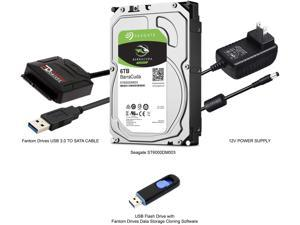 Fantom Drives 6TB Hard Drive Upgrade Kit with Seagate Barracuda ST6000DM003 for PC and External HDD, Fantom Drives SATA to USB 3.0 Converter and Fantom Drives Cloning Software Inside USB Flash Drive