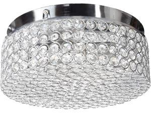 CO-Z Modern Crystal Ceiling Light Fixture, Flush Mount Ceiling Lights for Hallway Dining Bedroom Kitchen Bathroom, 120W Dimmable Close to Ceiling Lights with 12 Inch Round Crystal Shade