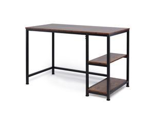 CO-Z Minimalist Study Desk Writing Table, Reversible with 2 Tier Shelves for Home Office, Deep Walnut