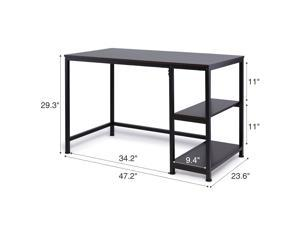 CO-Z Minimalist Study Desk Writing Table, Reversible with 2 Tier Shelves for Home Office, Ebony