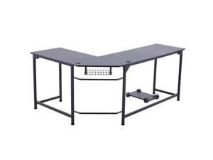 CO-Z L Shaped Computer Desk with Tower Stand | Corner Desk with Cable Management | Space-Saving 72x19 53x19 Home Office Desk w Underdesk Cable Tray and 2 Grommets | Simple Modern Gaming Desk, Black