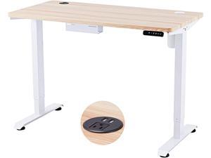 CO-Z Height Adjustable Computer Desk with USB Charging Station | 48x24 inch Motorized Sitting and Standing Desk for Home Office More | Electric Sit Stand Gaming Desk with Cable Management, White