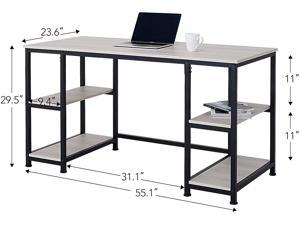 """CO-Z 55"""" Computer Desk with Shelves, Large Writing Desk Table, PC or Laptop Workstation for Home Office and More, Modern Executive Office Desk, Home Office Desk with Adjustable Shelving, Maple"""