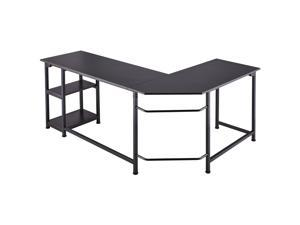 CO-Z 66 in. Large L-Shaped Computer Desk, Industrial Wood and Metal Sturdy Corner Desk with Shelves, for Home Office, Ebony