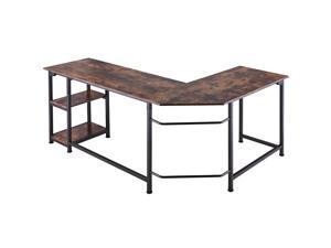 CO-Z 66 in. Large L-Shaped Computer Desk, Industrial Wood and Metal Sturdy Corner Desk with Shelves, for Home Office, Walnut