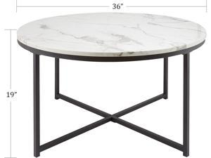 """CO-Z 36"""" Modern Round Coffee Table with Faux Marble Top   Mid-Century Cocktail Table with Metal Frame   Accent Table for Living Rooms Bedrooms Entryways Decor and More, White Marble and Black"""