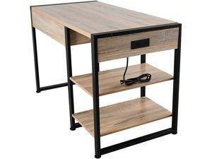 """CO-Z 47"""" Industrial Computer Desk w Drawer, 3-Prong Outlet, 2 USB Ports, & Storage Shelves 