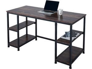 """CO-Z 55"""" Computer Desk with Shelves, Large Writing Desk Table, PC or Laptop Workstation for Home Office and More, Modern Executive Office Desk, Home Office Desk with Adjustable Shelving, Walnut"""
