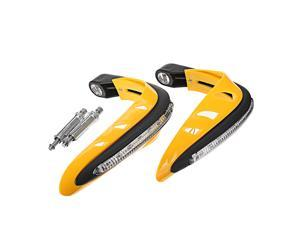 Handlebar Guard With White DRL LED Light Dirt Bike ATV Motocross Motorcycle Handguard Protector Yellow