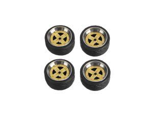 4Pcs Wheels Alloy Rubber Tire Axle Brake Disc for 1:64 Hot Wheel Tomy Car Model 8