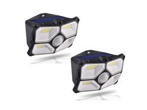 2/4Pcs 40 LED Solar Light Wide Angle Outdoor Wall Lamp 10M Sensoring Distance 120 Degree Sensoring Angle 150 Lumen 4 Luminescent Surfaces