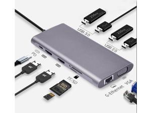 11in1 USB C Hub, Type-C laptop Docking station, Triple monitor, 4K display, compatible with Windows, MacOS, Tek-sailing TSDS1101