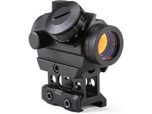 """Pinty 1x25mm Tactical Red Dot Sight 3-4 MOA Compact Red Dot Scope 1"""" Riser Mount for Cowitness with Iron Sights Waterproof and Shockproof Scratch Resistant Amber Lens"""